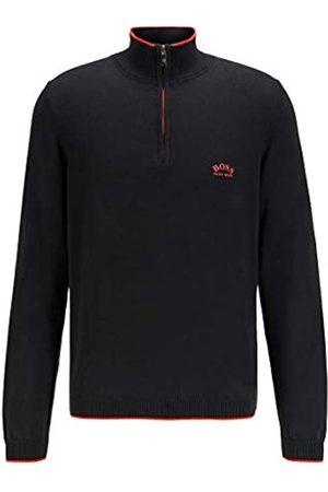 HUGO BOSS Herren Ziston S21 Pullover aus Bio-Baumwolle mit Troyerkragen und Kontrast-Details