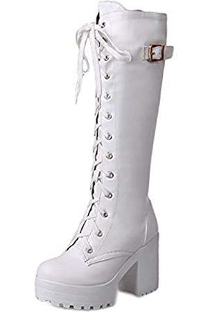 Nonbrand TAONEEF Damen Fashion Plateau Blockabsatz Kniehohe Stiefel, (Weiße Knie hoch)