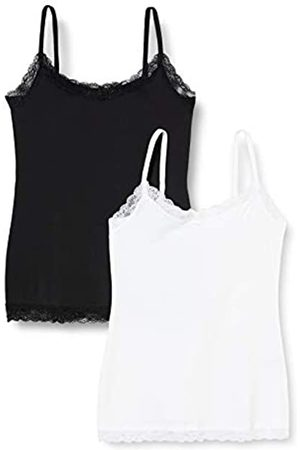 IRIS & LILLY Amazon-Marke: Damen Top Belk029m2, Mehrfarbig (White/Black), S