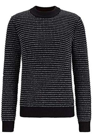 HUGO BOSS Herren Krecing Pullover aus Baumwoll-Mix mit Stehkragen und 3D-Struktur