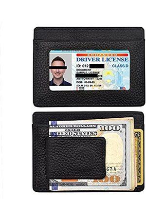 hfdele Minimalistische Geldbörse aus echtem Leder, magnetische Vordertasche, Geldklammer