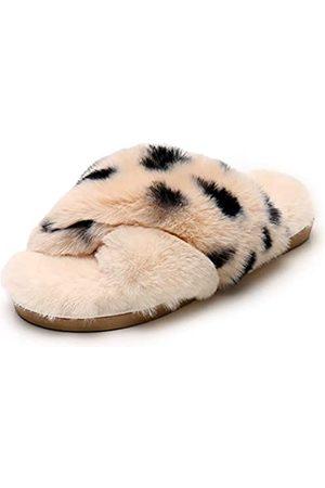 Real Fancy Fuzzy Slide Hausschuhe für Frauen – Crossover Open Toe Memory Foam flauschiges Kunstfell Hausschuh Indoor Outdoor, (leopard)