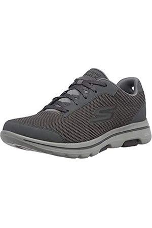 Skechers Herren GO Walk 5-Demitasse Sneaker, Anthrazitfarbener Textil-Kunststoff, schwarzer Rand