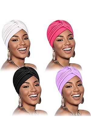 Syhood 4 Stücke Strecken Polyester Turban Kopf Mützenbezug Verdrehte Mütze Indiens Hut Turban Kopfbedeckung Plissee Kopfbedeckung Einfarbige Kopfbedeckung Frauen ( , , Rosenrot