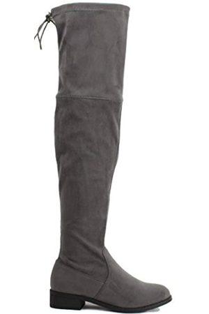 ShoBeautiful Damen Stiefel, Oberschenkelhoch, flach, dehnbar, (Premier Grey)