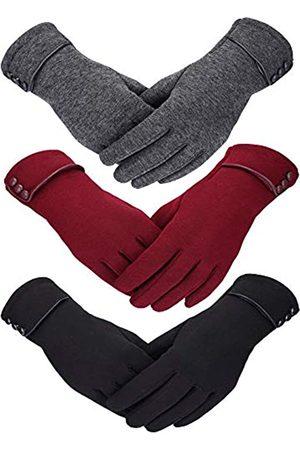 Patelai 3 Paar Damen Winter Handschuhe Warmer Handschuhe Winddicht Plüsch Handschuhe für Damen Mädchen Winter Verwendung (