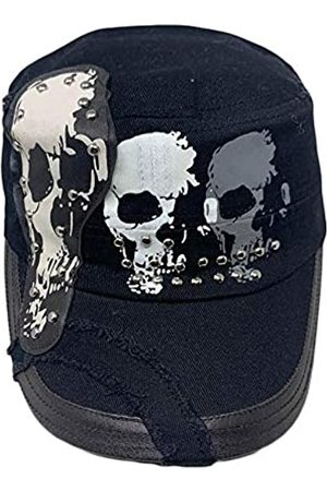 The Hatter Trendige Baumwolle Army Military Cap mit Nieten Bedruckter Patch mit Gummizug hinten Hut - - Einheitsgröße