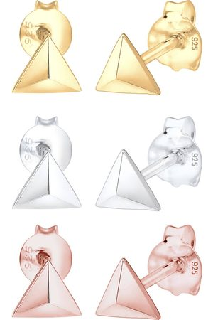 Elli Damen Ohrringe - Ohrringe 3er Set Dreieck Geo Tricolor Minimal 925 Silber in , Schmuck für Damen