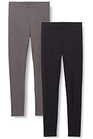 IRIS & LILLY Amazon-Marke: Damen Leichte Thermo-Leggings, 2er-Pack, Mehrfarbig (Black/Pearl)