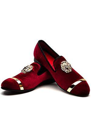 JITAI Loafers aus Echtleder für Herren, metallisch strukturierte Schlupfschuhe, (Red-02)