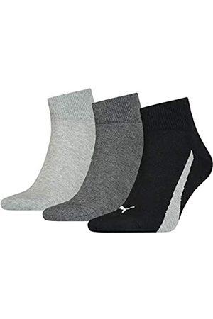 PUMA Unisex-Adult Lifestyle Quarter (3 Pack) Socks, Black/White