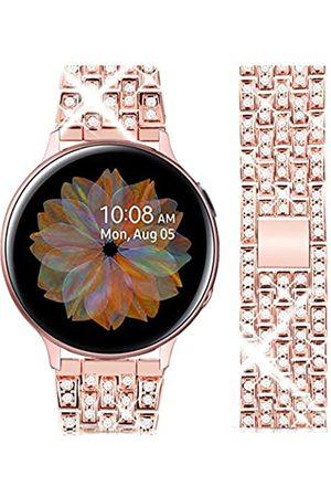 Goton Armband kompatibel mit Galaxy Watch 3, 41 mm, für Damen und Herren, mit Glitzersteinen, 20 mm, kompatibel mit Samsung Galaxy Watch 41 mm/Active 2 / 42 mm (rosarot