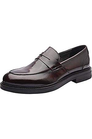 Allonsi Archard Herren Penny Slipper aus echtem Leder für Herren, spitz zulaufende Zehe Herren formelle Kleider Schuhe, (Bordeaux)