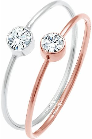 Elli Ring Solitär Set Kristalle 925 Silber Bicolor in , Schmuck für Damen