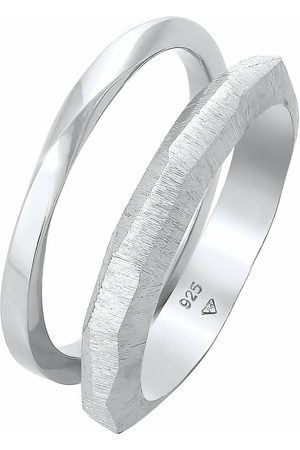 Elli Ring Bandring Basic Gedreht Struktur 2er Set 925 in , Schmuck für Damen