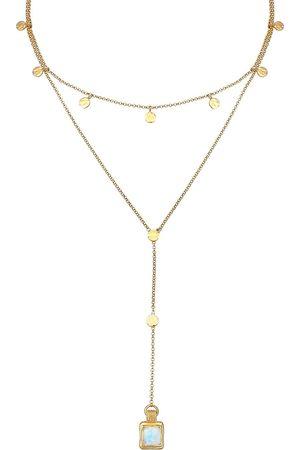 Elli Halskette Set Choker Y-Kette Mondstein Plättchen 925 Silber in , Schmuck für Damen