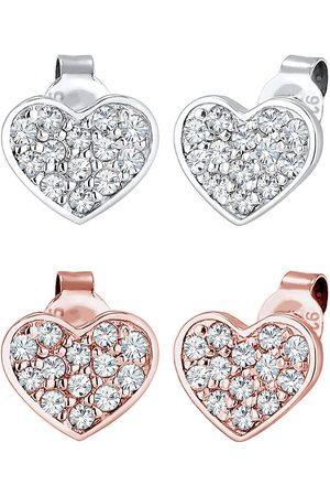 Elli Ohrringe Set Herz Bi-Color Kristalle 925 in , Schmuck für Damen