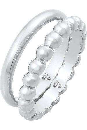 Elli Ring Bandring 2er Set Basic Kugel Design 925 in , Schmuck für Damen