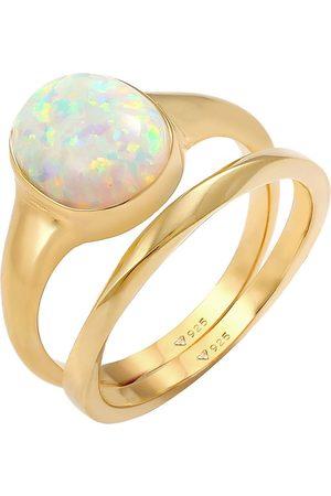 Elli Ring Set Klassik Opal Basic Twist 925 Silber Vergoldet in , Schmuck für Damen