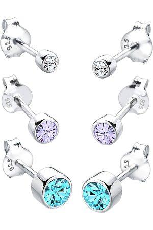 Elli Ohrringe 3er Set Basic Kristalle 925 Silber in , Schmuck für Damen