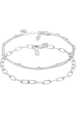 Elli Armband 2er Set Layer Kugelkette Basic Trend 925 in , Schmuck für Damen