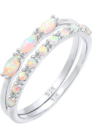 Elli Ring Set Vintage Design Synthetischer Opal 925 in , Schmuck für Damen