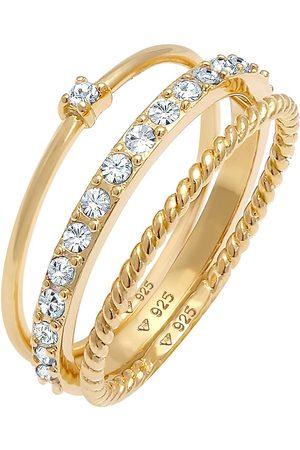 Elli Ring Kristalle Stapelring 3er Set 925 Silber in , Schmuck für Damen