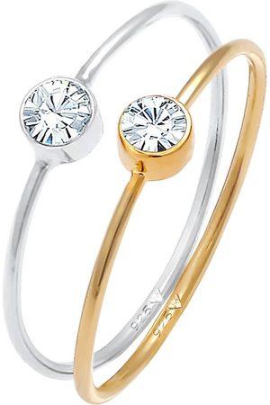 Elli Ring Solitär Set Kristalle 925 Bicolor in , Schmuck für Damen