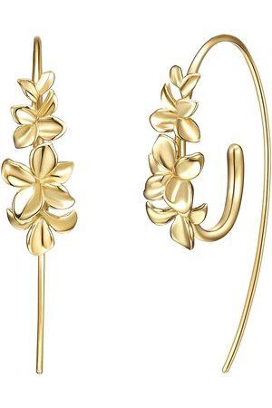 I04 Ohrring lang kleine Schmetterlingsblüte Silber 925 Blüte teils vergoldet