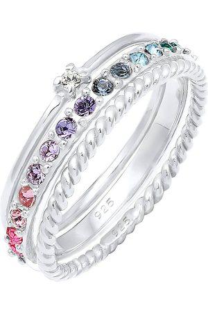 Elli Ring Set Multi-Color Pastell Kristalle 925 in , Schmuck für Damen