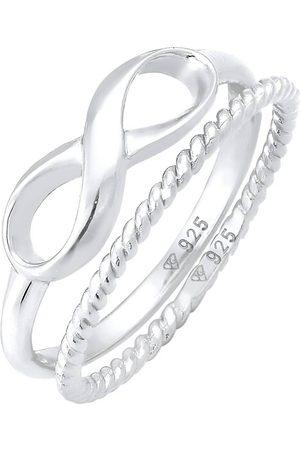 Elli Ring Infinity Stapelring Twisted 2er Set 925 in , Schmuck für Damen