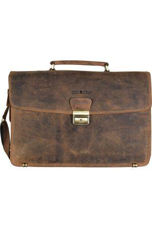Greenburry Vintage Aktentasche Leder 40 Cm Laptopfach in mittelbraun, Businesstaschen für Herren