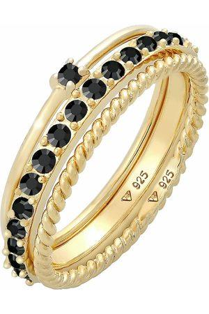 Elli Damen Ringe - Ring Stapelring Kristalle 3er Set 925 Silber in , Schmuck für Damen