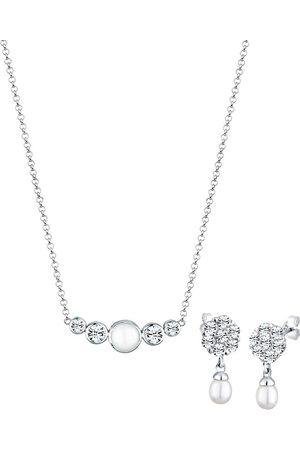 Elli Damen Ohrringe - Schmuckset Perle Kristalle 925 in , Schmuck für Damen