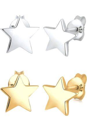 Elli Ohrringe Set Sterne Star Astro Bi-Color 925 Sterling in , Schmuck für Damen