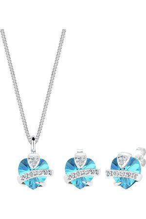 Elli Schmuckset Herz Glamourös Kristalle 925 Silber in hellblau, Schmuck für Damen