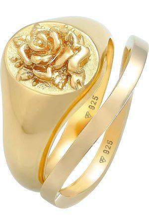 Elli Ring Siegelring Rose Basic Ring 2er Set 925 Silber in , Schmuck für Damen