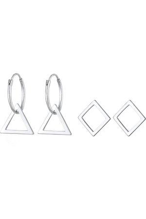 Elli Ohrringe Creolen Set Hänger Geo Dreieck Trend 925 in , Schmuck für Damen
