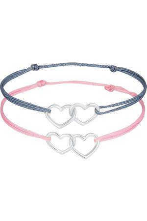 Elli Damen Armbänder - Armband Kinder Herzen Nylon Bändchen 2er Set 925 in , Schmuck für Damen