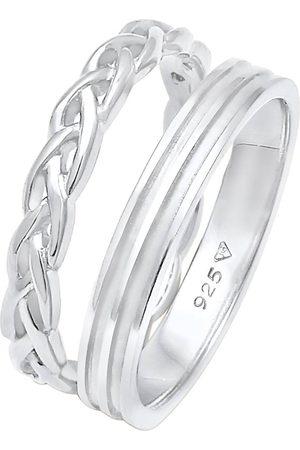 Elli Ring Bandring Basic Zopf Knoten 2er Set 925 in , Schmuck für Damen