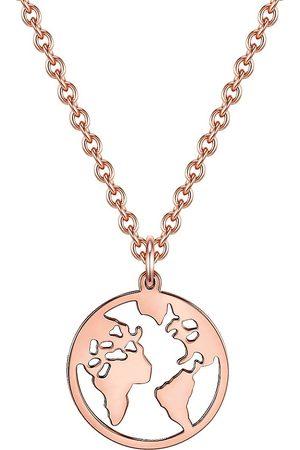 Soul Club Damen Halsketten - Halskette Weltkarte in rosé , Schmuck für Damen