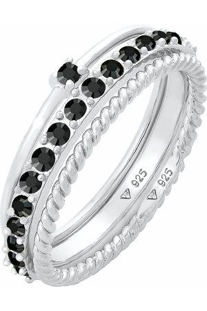 Elli Ring Stapelring Kristalle 3er Set 925 in , Schmuck für Damen