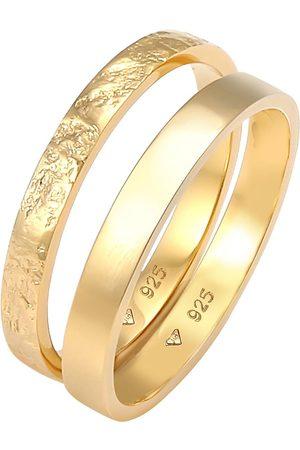 Elli Ring 2er Set Bandring Basic Organic-Look 925 Silber in , Schmuck für Damen