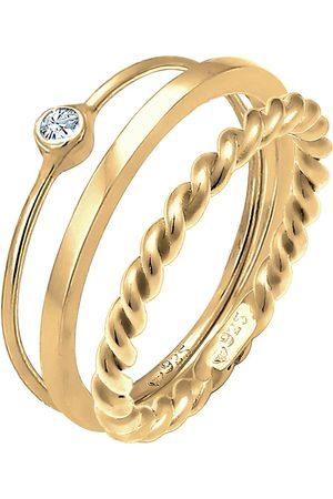Elli Ring Set Trend Solitär Kristalle 925 Silber in , Schmuck für Damen