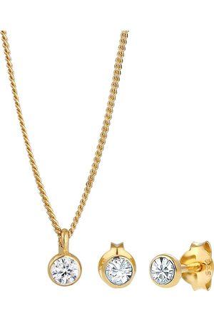 Elli Damen Ohrringe - Schmuckset Basic Elegant Kristalle 925 Silber in , Schmuck für Damen