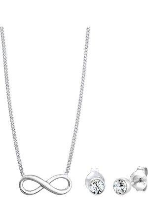 Elli Schmuckset Infinity Symbol Kristalle 925 in , Schmuck für Damen