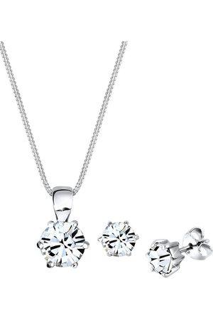 Elli Damen Halsketten - Schmuckset Basic Kristalle Silber in , Schmuck für Damen