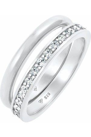 Elli Damen Ringe - Ring Kristalle Memoire Bandring Basic 2er Set 925 in , Schmuck für Damen