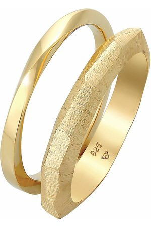 Elli Ring Bandring Basic Gedreht Struktur 2er Set 925 Silber in , Schmuck für Damen