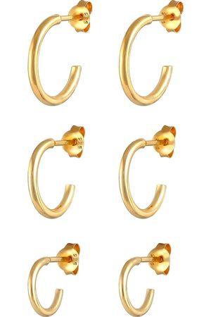Elli Ohrringe 3er Set Creolen Stecker Basic Trend 925 Silber in , Schmuck für Damen